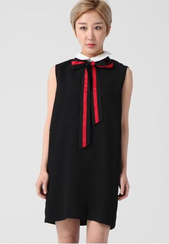 韓流時尚 波點蝴蝶結esprit地址迷笛連衣裙 F4023, 服飾, 洋裝