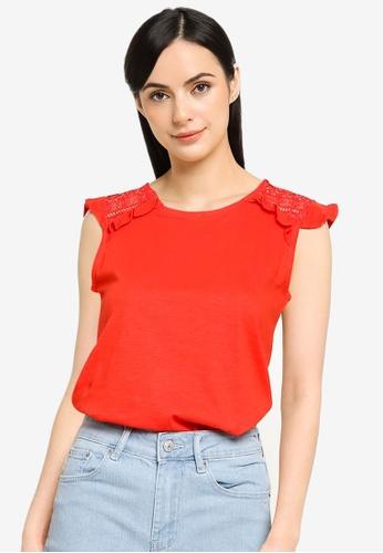 Springfield red Crochet Shoulders T-Shirt 239DFAA8882517GS_1