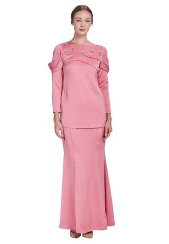 AUBURN Lapel Kurung from Meraki Atelier in Pink