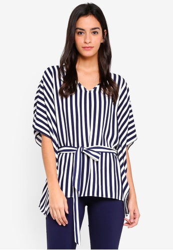 Wallis navy Navy Stripe Kaftan Top 4E0ABAA08C28E3GS_1