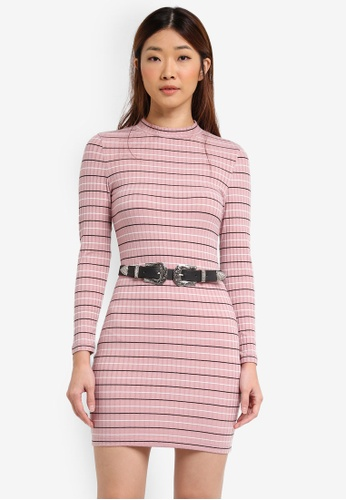 Something Borrowed pink High Neck Striped Bodycon Dress 67744AAFDE2FF7GS_1