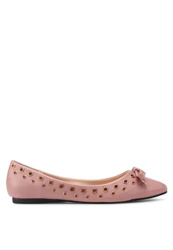 Something Borrowed pink Eyelet Bow Ballerina 79C0ESHE46B539GS_1
