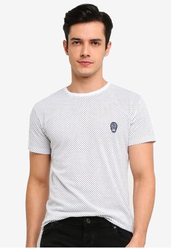 !Solid white Shimon Skull Embroidery T-Shirt 08E9EAA9ACE76FGS_1