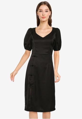 ZALORA OCCASION black Puff Sleeves Heart Neck Dress CA12DAA105DF67GS_1