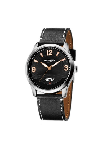 Eyki black and gold Eyki Overfly W8533 Date Subdial Carbon Man Leather Watch (Black Gold) EY078AC77ROGMY_1