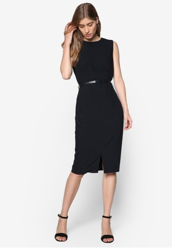 Essential 無袖腰帶esprit hk直筒連身裙, 服飾, 洋裝