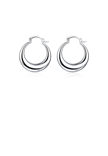Glamorousky silver Fashion Round Crescent Earrings BEC20AC4A19D3CGS_1