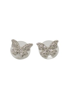 Paris Bijoux PE18905A Butterfly Rhodium Plated Earring - Crystal