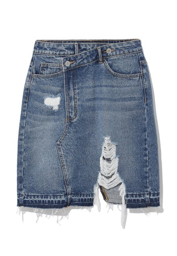 b+ab blue Distressed denim skirt C9566AAE8890E2GS_1