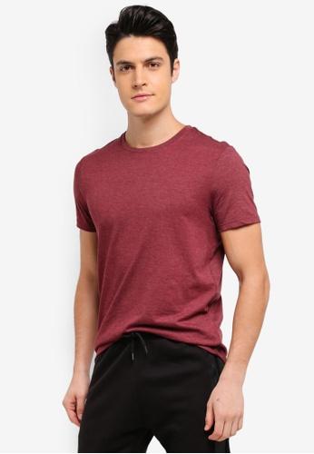 Burton Menswear London red Pomegranate Red Marl Crew Neck T-Shirt 5EC36AA171DA57GS_1