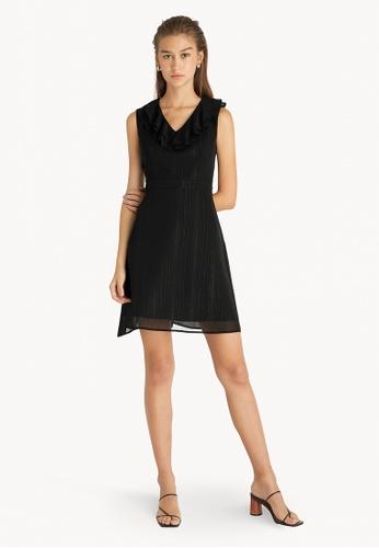 Pomelo black Neck Frill Accent Sleeveless Dress - Black 48136AA8F4D4C8GS_1