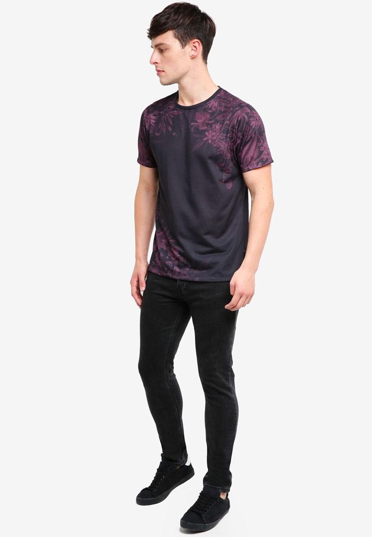 Black And Burton Black Placement Burgundy T Print Shirt London Menswear Floral vqwFdqnp