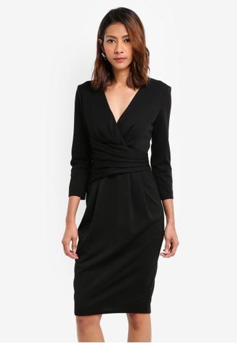 Goddiva black Fitted Pleated Midi Dress 58D97AA3CBF6A0GS_1