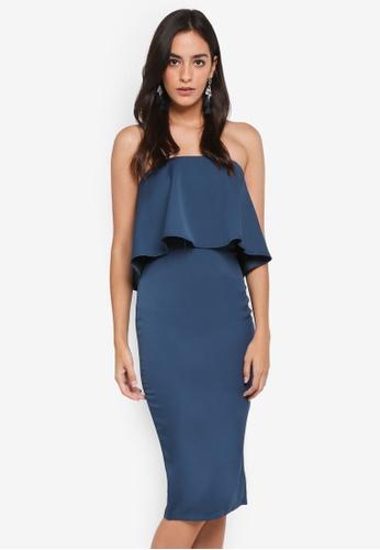 MISSGUIDED blue Bandeau Frill Woven Midi Dress D6604AAD888B03GS_1