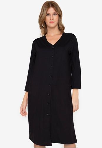 Chictees black Nadia Button Dress 8063FAA4E1DA96GS_1