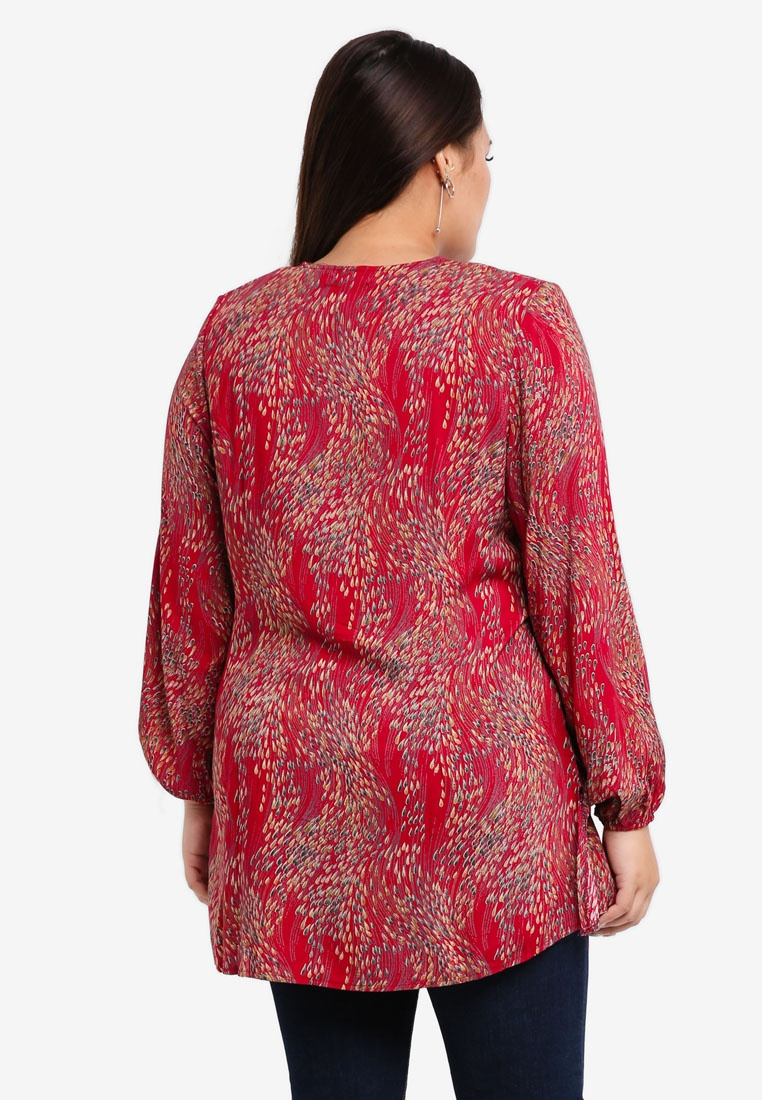 Plus BYN Size Red Blouse Muslimah 7wAnHv7dq0