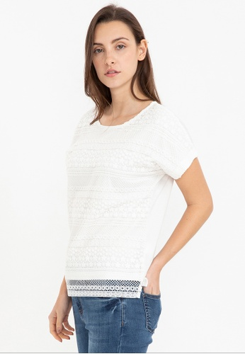 Bossini white Short Sleeve Lace Patch Tee C0CBAAAC74F527GS_1