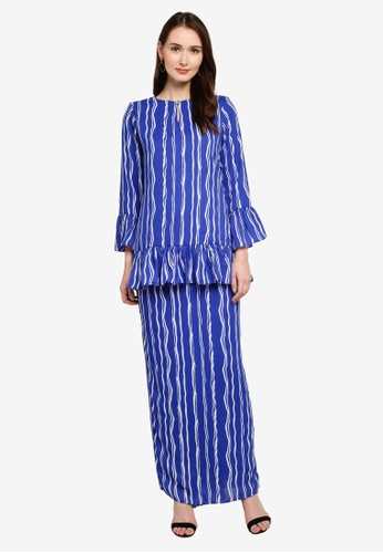 Zuco Fashion blue Midi Kurung with Ruffles E21C6AAFC0D397GS_1