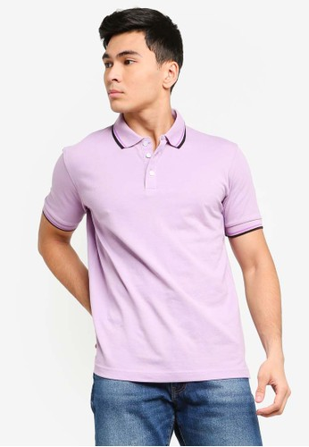 UniqTee purple Slim Fit Twin Tipped Polo Shirt 15649AA3951C6CGS_1