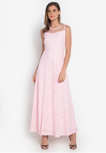 Cignal Pink Brocade Gown With Sheer Neckline Ci922aa0kncvph 1
