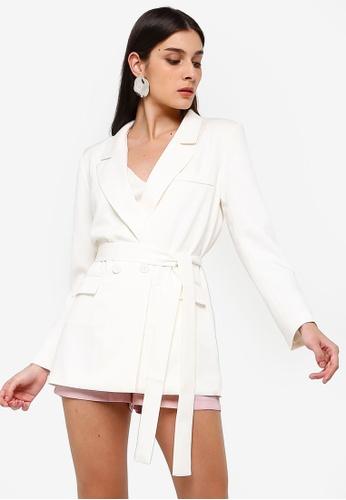 ZALORA white Long Line Blazer With Self Tie EE0DAAA2E11153GS_1