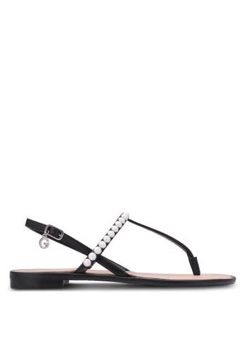 Guess black Henrica Rhinestone Sandals GU020SH0S7L5MY_1
