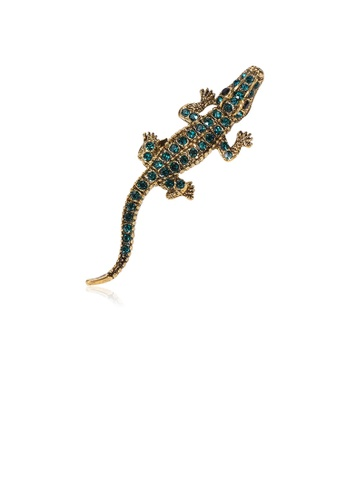 Glamorousky green Simple Personality Plated Gold Crocodile Brooch with Green Cubic Zirconia 0FE83AC9945EF8GS_1