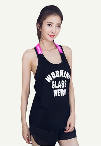 B-Code black ZYG5058-Lady Quick Drying Running Fitness Yoga Sports Tank Top-Black 60DD2AAD2E3376GS_1