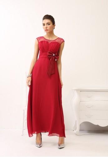 歐美款優雅雷絲拼接浪漫雪esprit 折扣紡紗長禮服, 服飾, 服飾