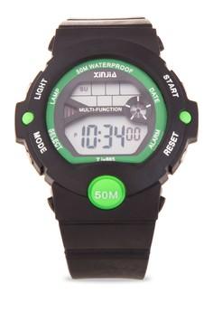 Sport Unisex Black Resin Strap Watch XJ-865-Metalic-Green