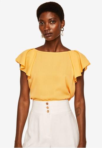 Mango yellow Ruffled Sleeve Blouse 243D5AA92B78BCGS_1