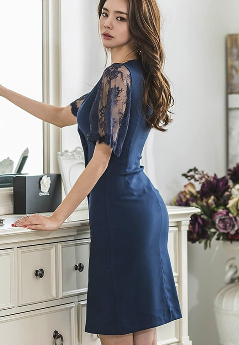 Piece Neck 2018 Dress CA062927BL Sunnydaysweety V New Blue Blue Breasted Double One nttFH0wqr