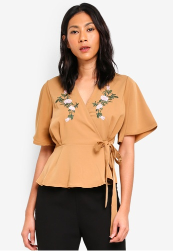Megane beige Essential Calanthe Embroidered Wrap Top 4FE05AAD115CF5GS_1