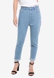 ZALORA blue Frayed Hem Slim-Fit Mom Jeans DFEC0ZZ6FDD076GS_1