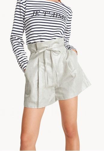 Pomelo grey Metallic Linen Paperbag Waist Shorts - Light Gray 4DE27AAC8498B5GS_1