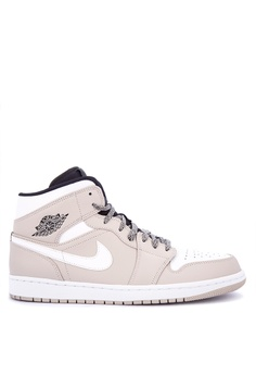 Nike black and white Men's Air Jordan 1 Mid Basketball Shoes  00DE1SH619A6EAGS_1