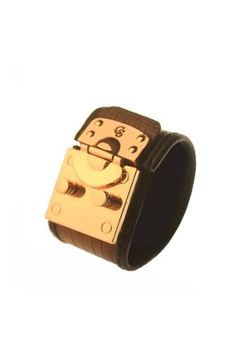 CSHEON gold and brown HAYDES CUFF DEEP BRICK BROWN LIZARD SKIN LEATHER BRACELET 433CEAC822A551GS_1