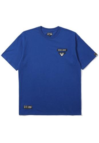 izzue blue Oversized logo print tee 437CEAAFE407E9GS_1
