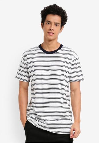 Cotton On 白色 and 海軍藍色 短袖條紋T恤 3C83FAA7E8D222GS_1