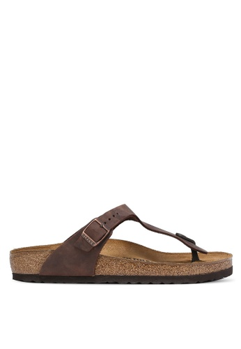 Birkenstock brown Gizeh Oiled Leather Sandals BI090SH0RCOFMY_1