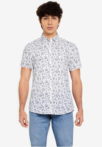 BLEND white Leaf AOP Short Sleeve Shirt 37DD8AA8DBC497GS_1