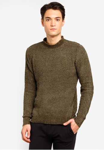 Brave Soul green and brown Turtle Neck Jumper F83C3AA09911B5GS_1