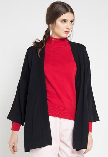 Noir Sur Blanc black Ladies Cardigan 3/4 Sleeve NO321AA0WDWHID_1