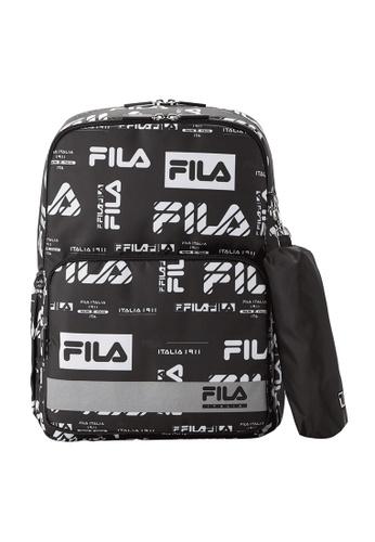 FILA black FILA KIDS All Over FILA Logo Backpacks FA7EEKCC059ABAGS_1