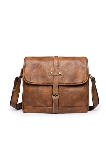 Lara brown Men's Front Flap Buckle Messenger Bag 83E24ACADB3071GS_1