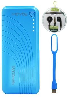 Moyou 15000mAH PowerBank With FREE Bavin SuperBass Earphones & USB LED Lamp