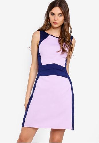 ZALORA 紫色 and 海軍藍色 撞色無袖V領洋裝 4F175AAF5AD822GS_1