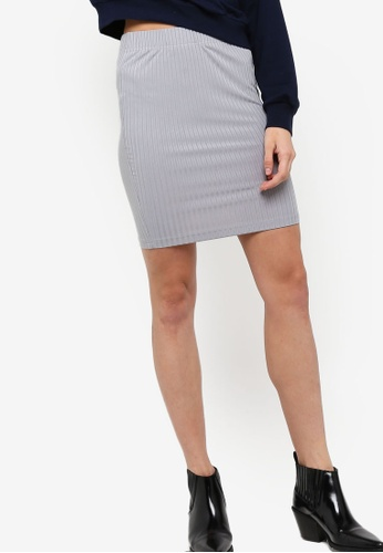 Something Borrowed grey Rib Mini Skirt 9CC2DAAD079054GS_1