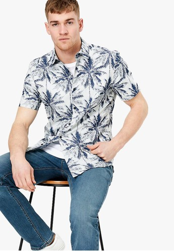 MARKS & SPENCER blue Cotton Rich Palm Print Shirt 985B1AA5192AB3GS_1