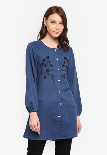 BYN blue Muslimah Blouse 54D60AA0412026GS_1